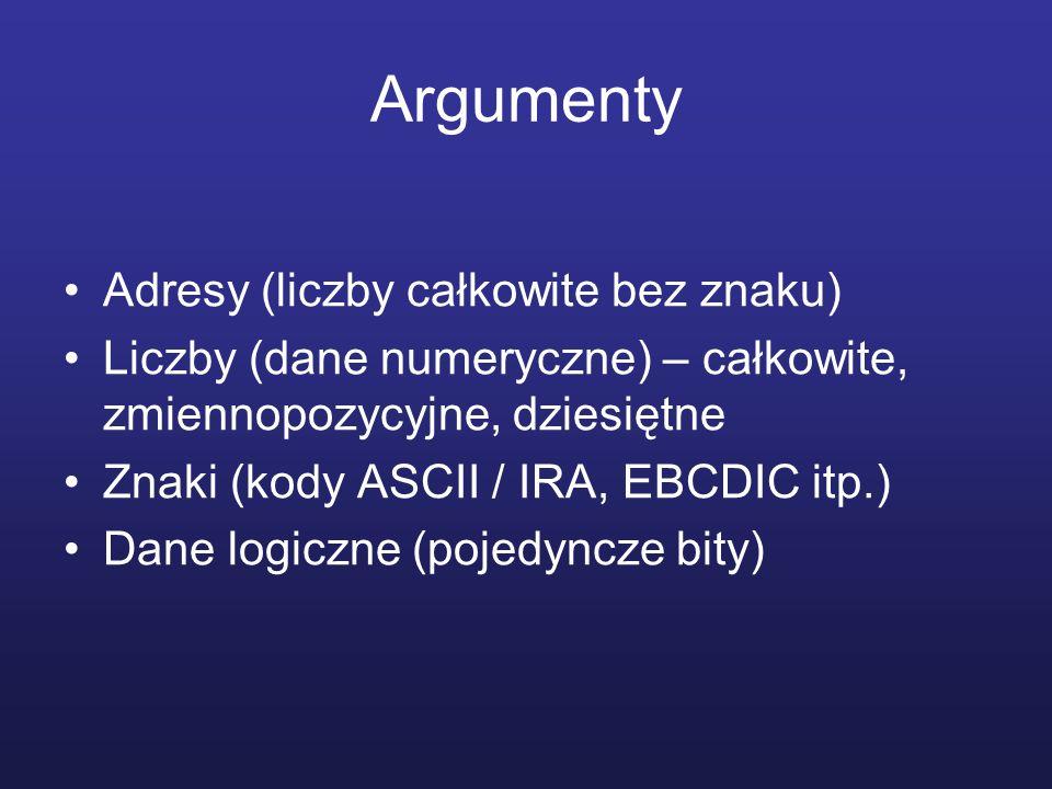 Argumenty Adresy (liczby całkowite bez znaku)