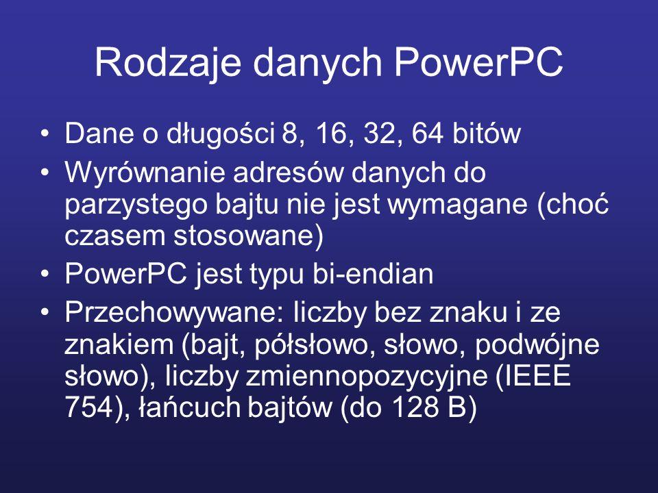 Rodzaje danych PowerPC