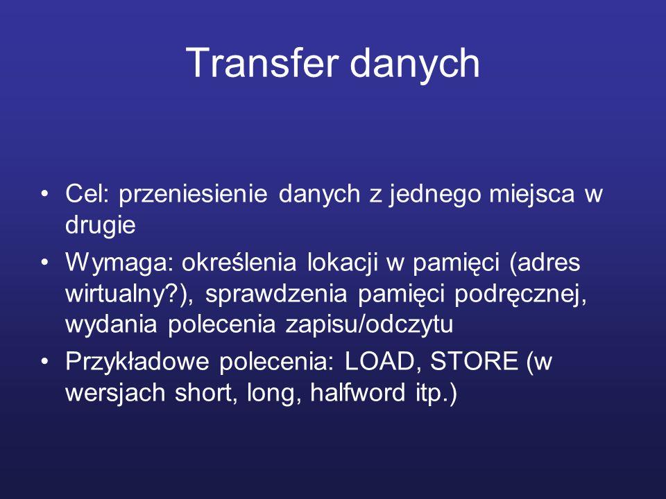 Transfer danych Cel: przeniesienie danych z jednego miejsca w drugie