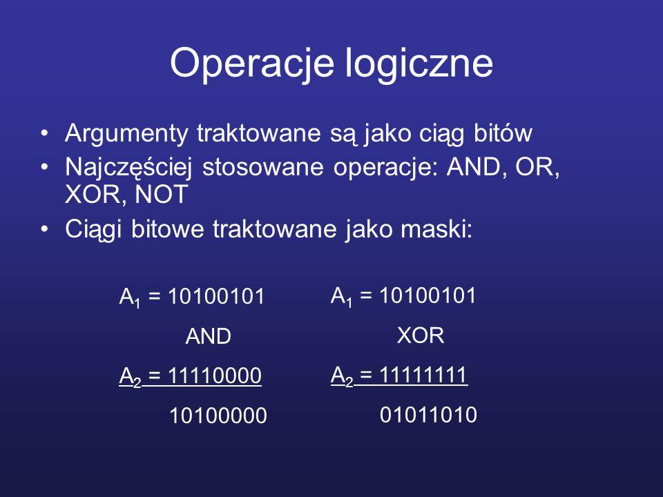 Operacje logiczne Argumenty traktowane są jako ciąg bitów