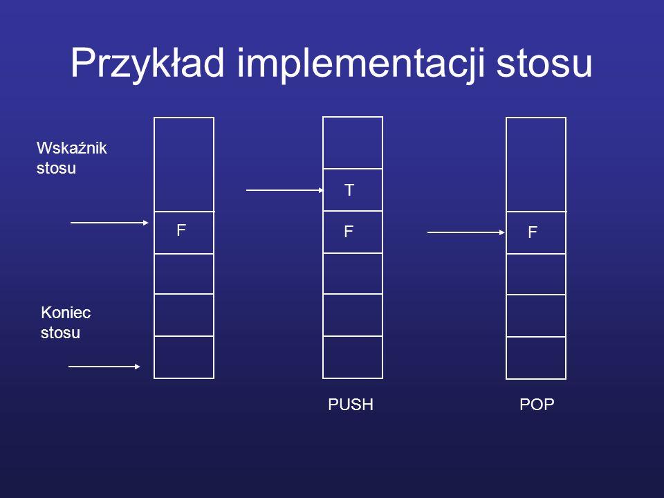 Przykład implementacji stosu