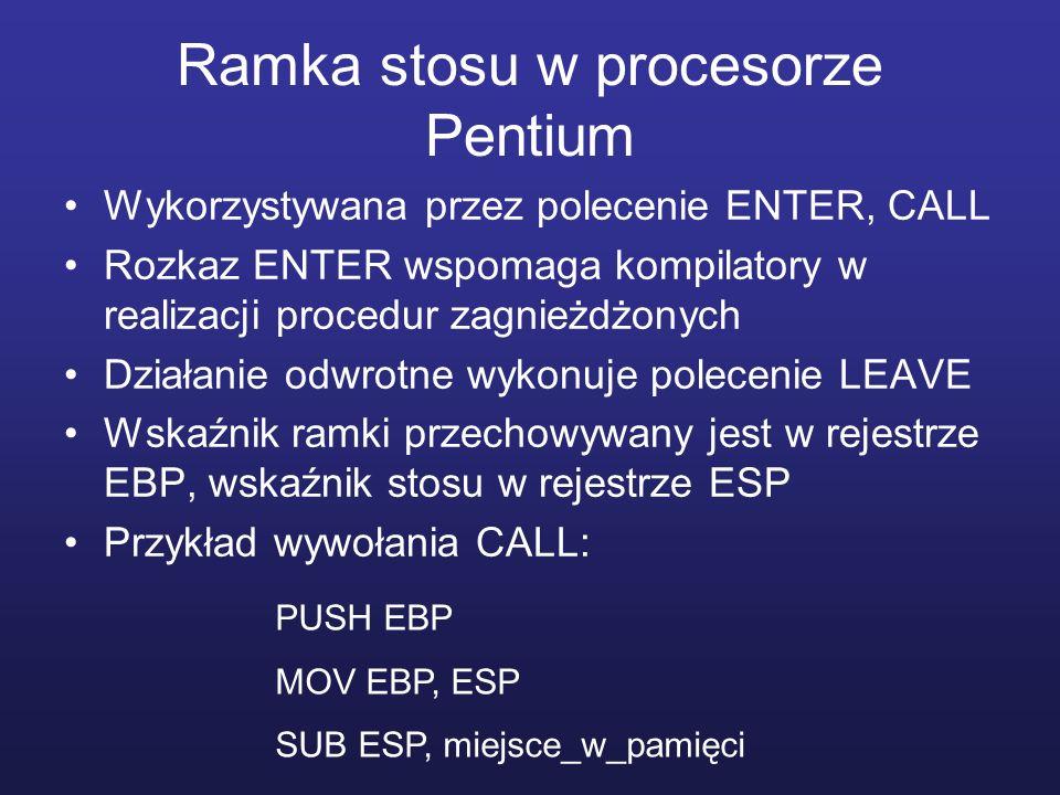 Ramka stosu w procesorze Pentium
