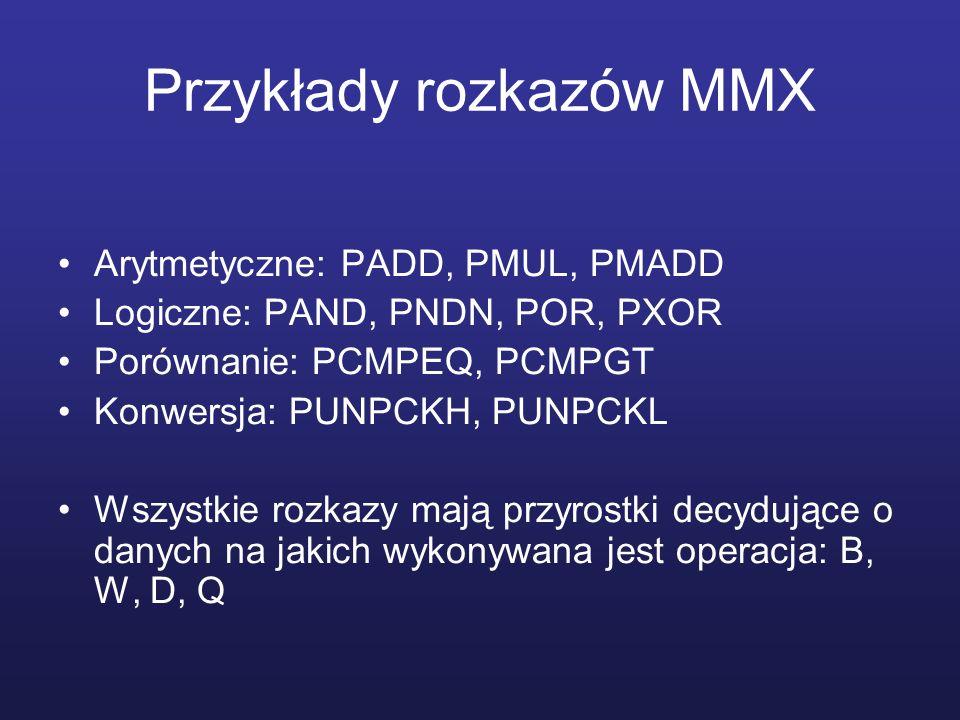 Przykłady rozkazów MMX