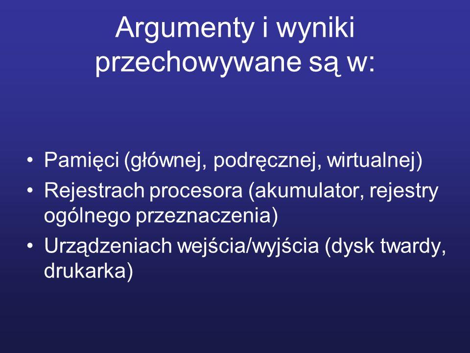 Argumenty i wyniki przechowywane są w: