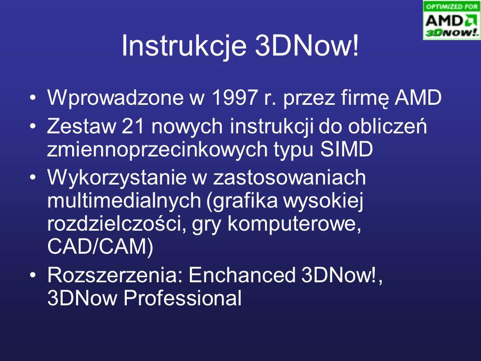 Instrukcje 3DNow! Wprowadzone w 1997 r. przez firmę AMD