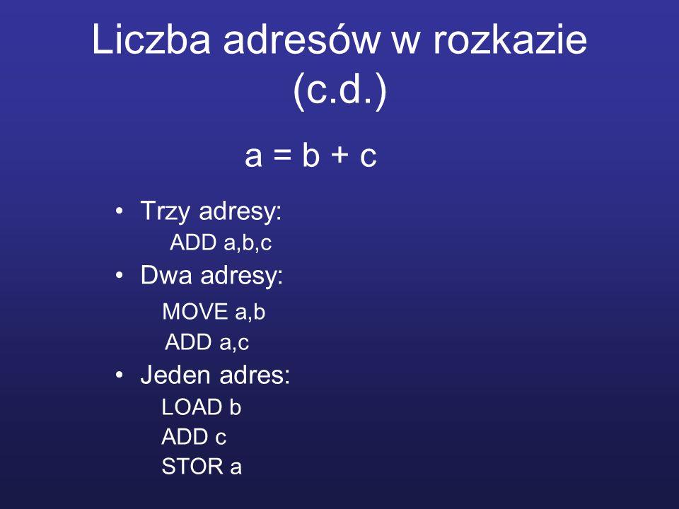 Liczba adresów w rozkazie (c.d.)