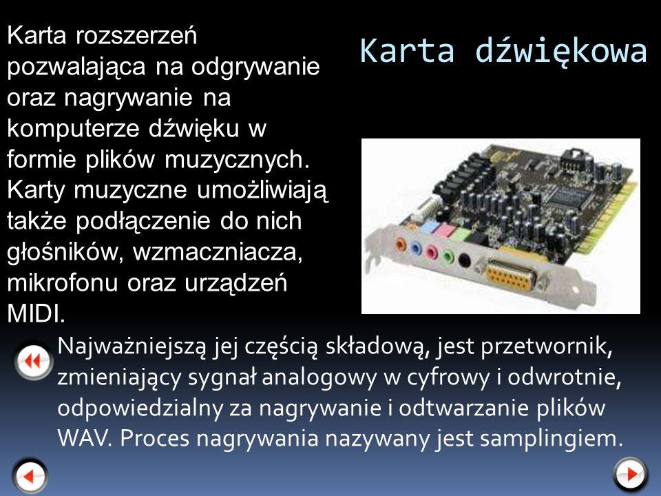 Karta rozszerzeń pozwalająca na odgrywanie oraz nagrywanie na komputerze dźwięku w formie plików muzycznych. Karty muzyczne umożliwiają także podłączenie do nich głośników, wzmaczniacza, mikrofonu oraz urządzeń MIDI.