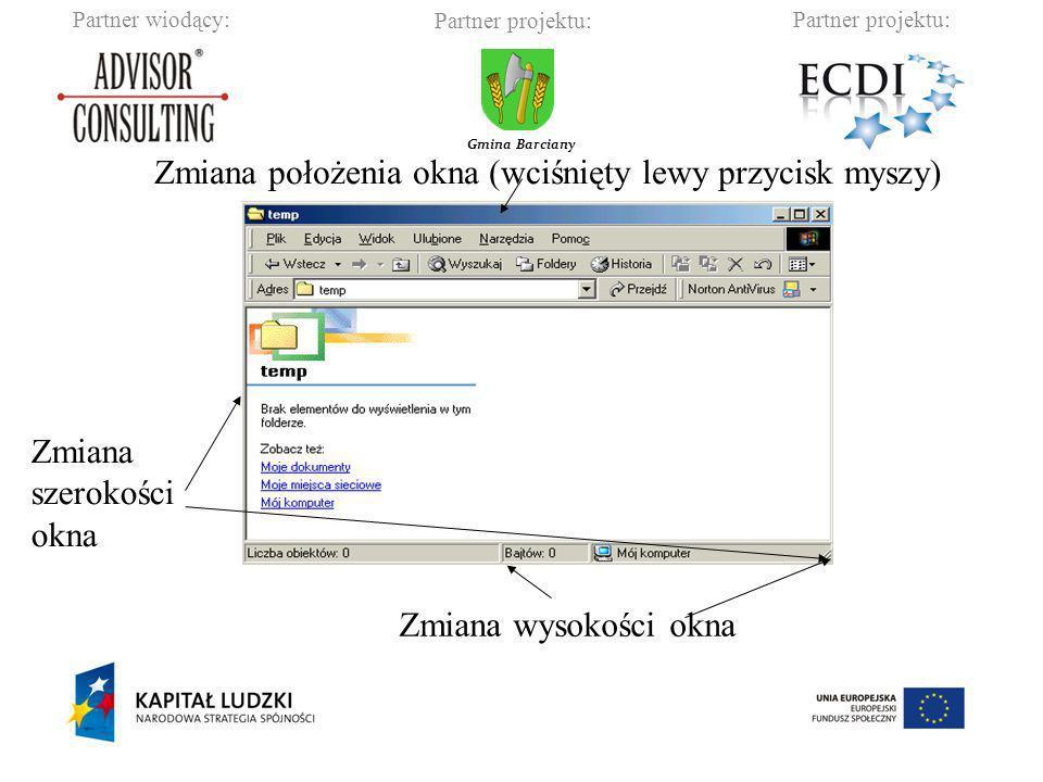 Zmiana położenia okna (wciśnięty lewy przycisk myszy)