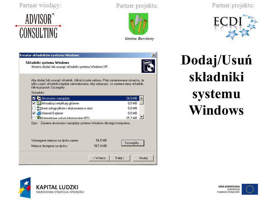 Dodaj/Usuń składniki systemu Windows