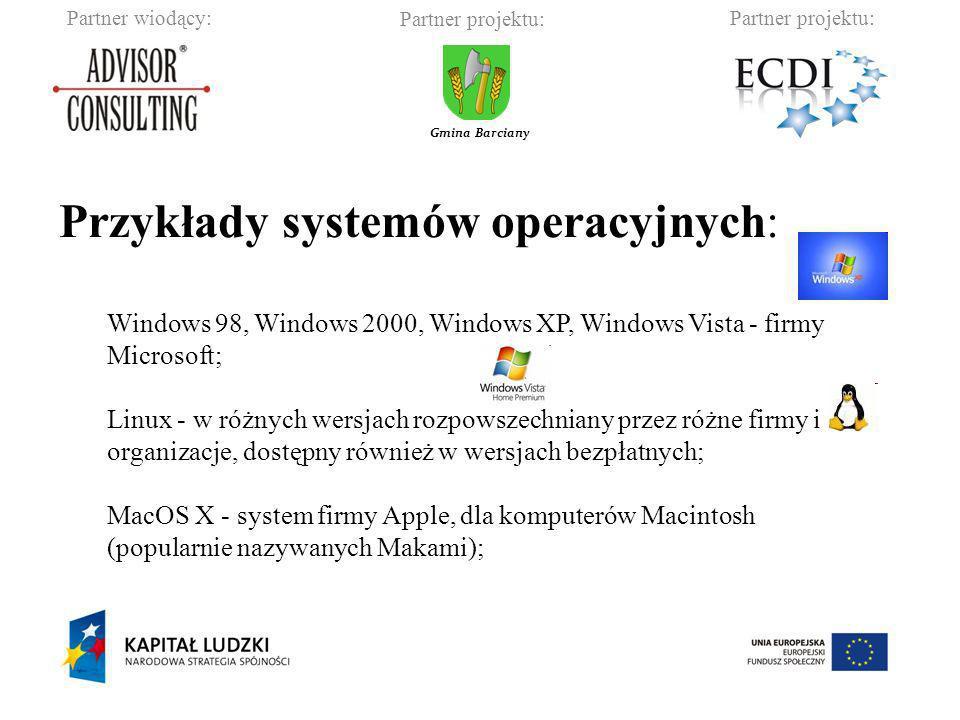 Przykłady systemów operacyjnych: