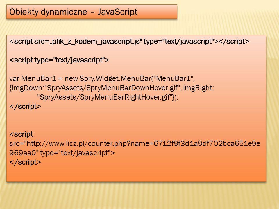 Obiekty dynamiczne – JavaScript