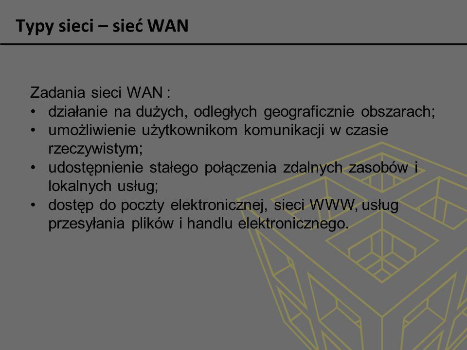 Typy sieci – sieć WAN Zadania sieci WAN :