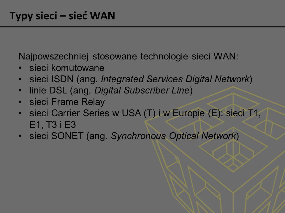 Typy sieci – sieć WAN Najpowszechniej stosowane technologie sieci WAN: