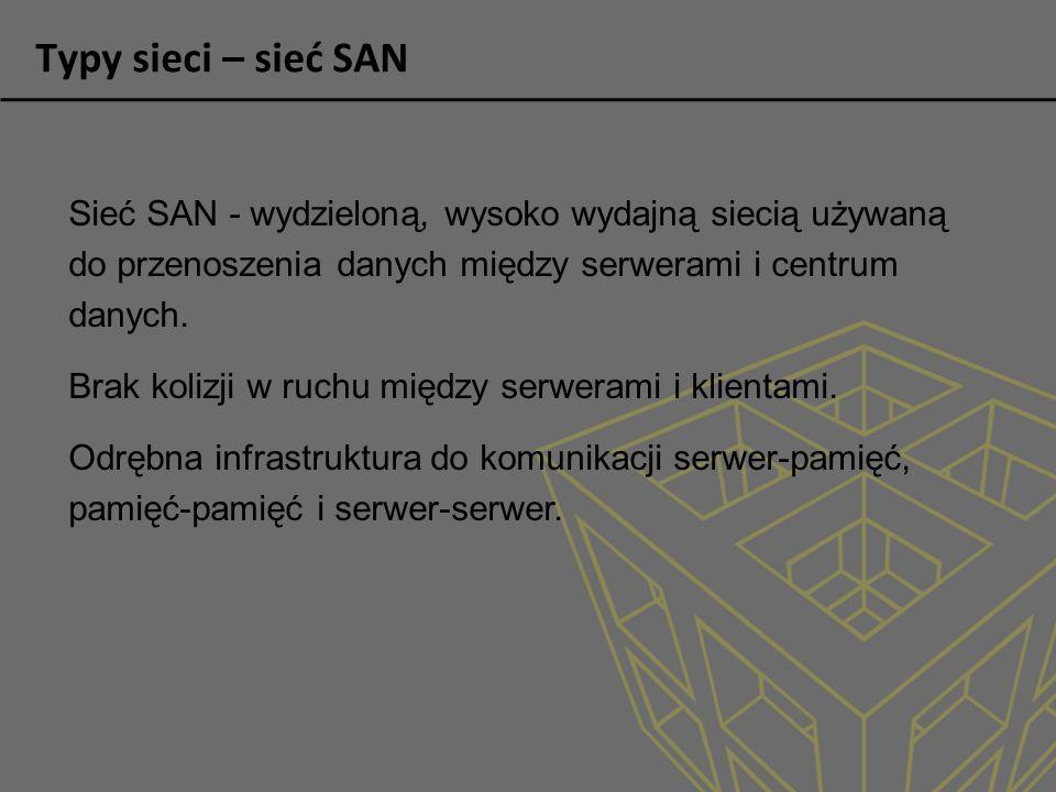 Typy sieci – sieć SAN Sieć SAN - wydzieloną, wysoko wydajną siecią używaną do przenoszenia danych między serwerami i centrum danych.