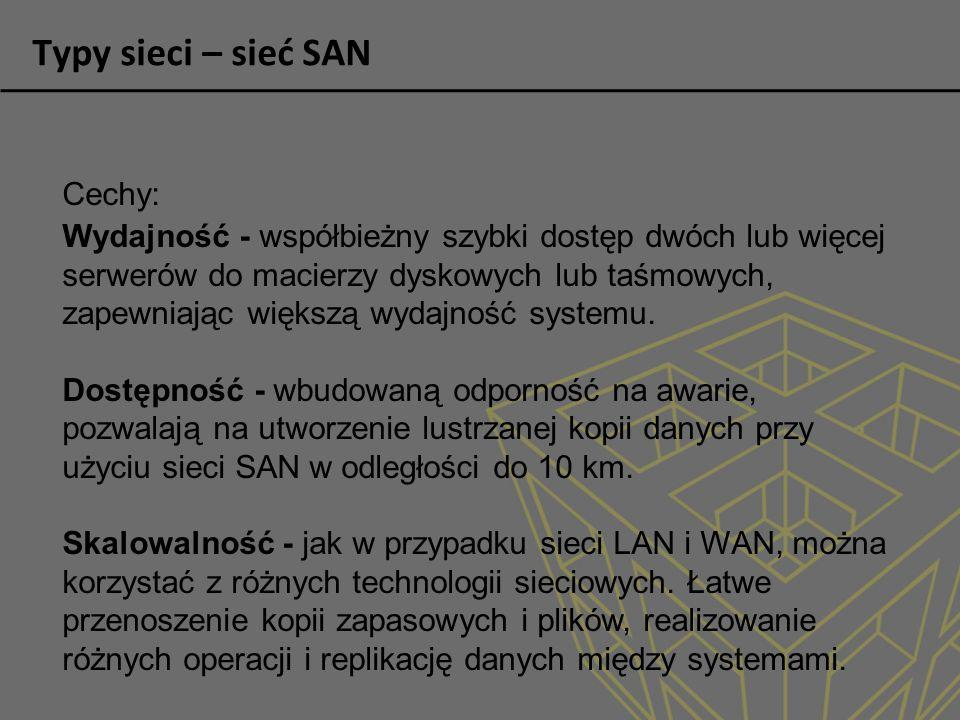 Typy sieci – sieć SAN Cechy: