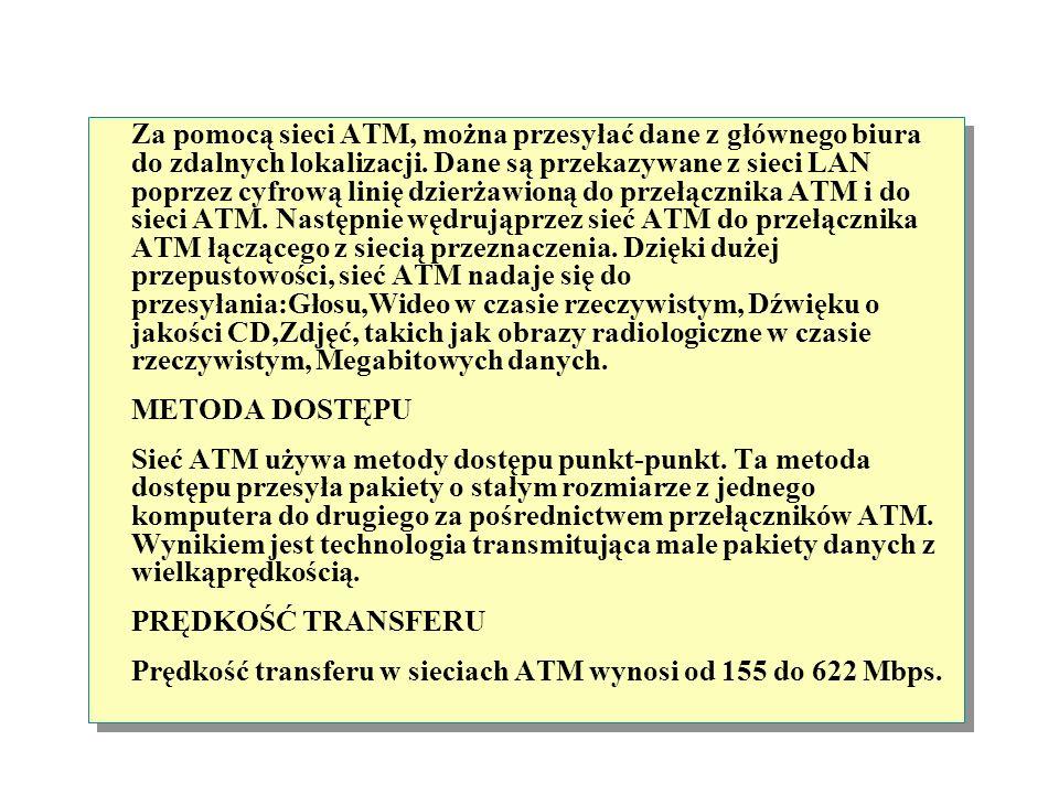 Za pomocą sieci ATM, można przesyłać dane z głównego biura do zdalnych lokalizacji. Dane są przekazywane z sieci LAN poprzez cyfrową linię dzierżawioną do przełącznika ATM i do sieci ATM. Następnie wędrująprzez sieć ATM do przełącznika ATM łączącego z siecią przeznaczenia. Dzięki dużej przepustowości, sieć ATM nadaje się do przesyłania:Głosu,Wideo w czasie rzeczywistym, Dźwięku o jakości CD,Zdjęć, takich jak obrazy radiologiczne w czasie rzeczywistym, Megabitowych danych.