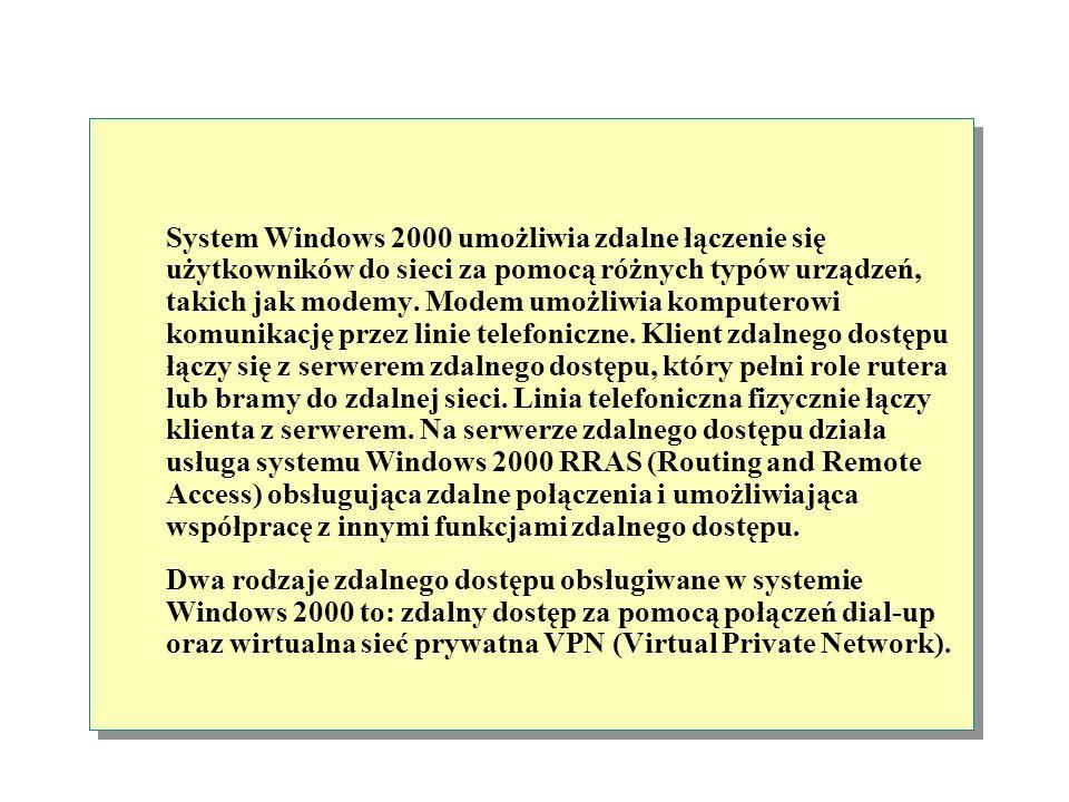 System Windows 2000 umożliwia zdalne łączenie się użytkowników do sieci za pomocą różnych typów urządzeń, takich jak modemy. Modem umożliwia komputerowi komunikację przez linie telefoniczne. Klient zdalnego dostępu łączy się z serwerem zdalnego dostępu, który pełni role rutera lub bramy do zdalnej sieci. Linia telefoniczna fizycznie łączy klienta z serwerem. Na serwerze zdalnego dostępu działa usługa systemu Windows 2000 RRAS (Routing and Remote Access) obsługująca zdalne połączenia i umożliwiająca współpracę z innymi funkcjami zdalnego dostępu.
