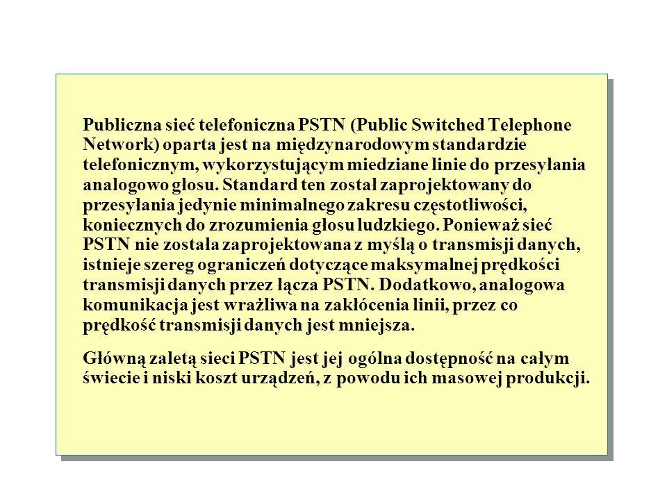Publiczna sieć telefoniczna PSTN (Public Switched Telephone Network) oparta jest na międzynarodowym standardzie telefonicznym, wykorzystującym miedziane linie do przesyłania analogowo głosu. Standard ten został zaprojektowany do przesyłania jedynie minimalnego zakresu częstotliwości, koniecznych do zrozumienia głosu ludzkiego. Ponieważ sieć PSTN nie została zaprojektowana z myślą o transmisji danych, istnieje szereg ograniczeń dotyczące maksymalnej prędkości transmisji danych przez łącza PSTN. Dodatkowo, analogowa komunikacja jest wrażliwa na zakłócenia linii, przez co prędkość transmisji danych jest mniejsza.