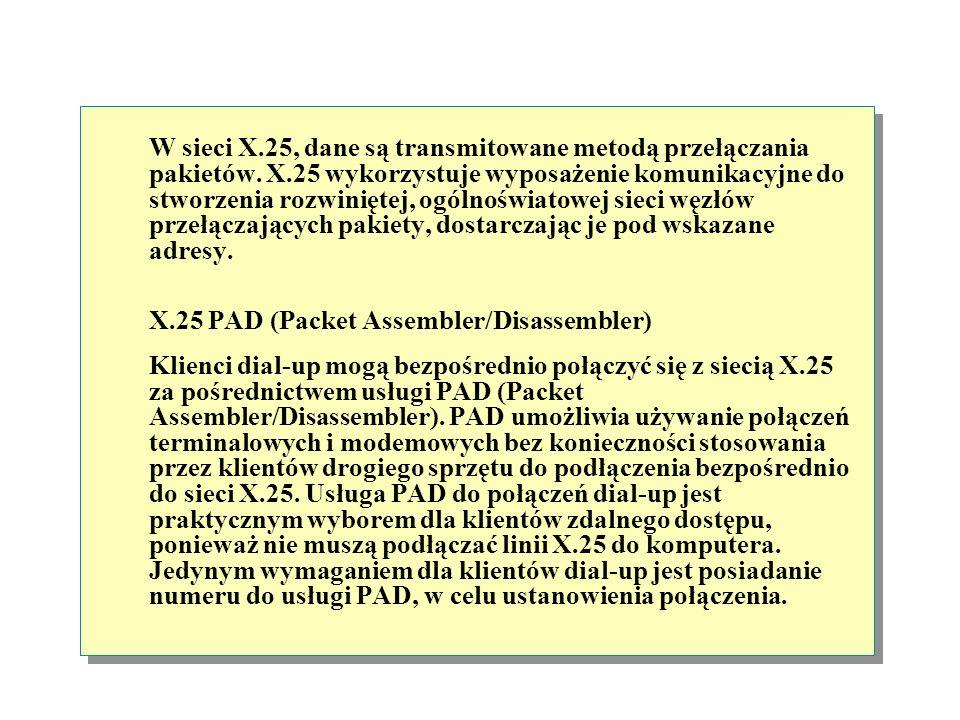 W sieci X. 25, dane są transmitowane metodą przełączania pakietów. X