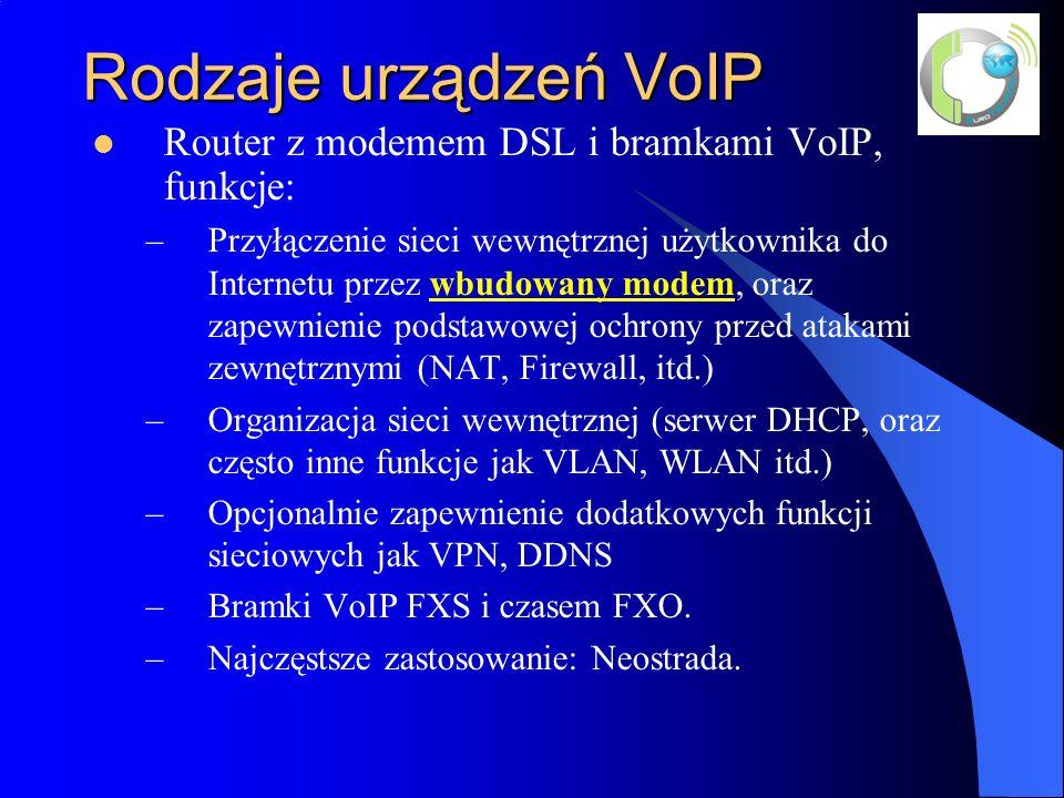 Rodzaje urządzeń VoIP Router z modemem DSL i bramkami VoIP, funkcje: