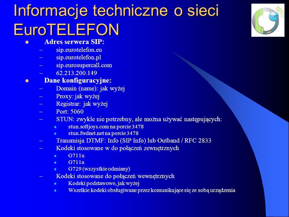 Informacje techniczne o sieci EuroTELEFON