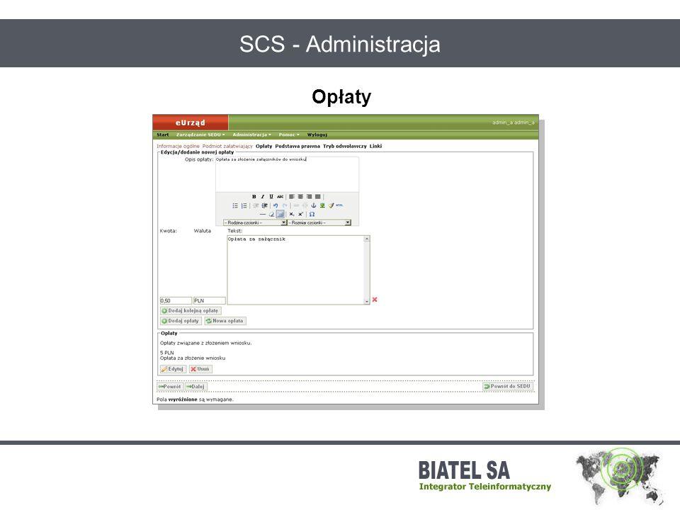 SCS - Administracja Opłaty