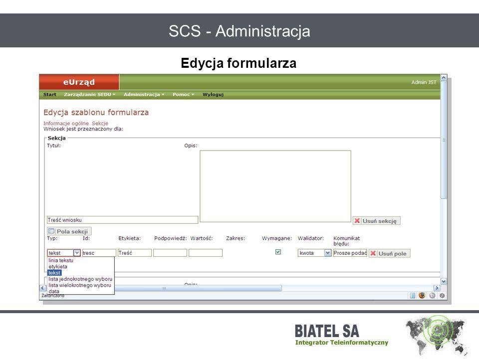 SCS - Administracja Edycja formularza