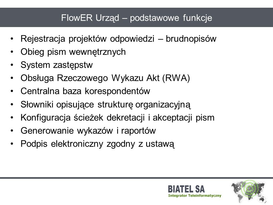FlowER Urząd – podstawowe funkcje