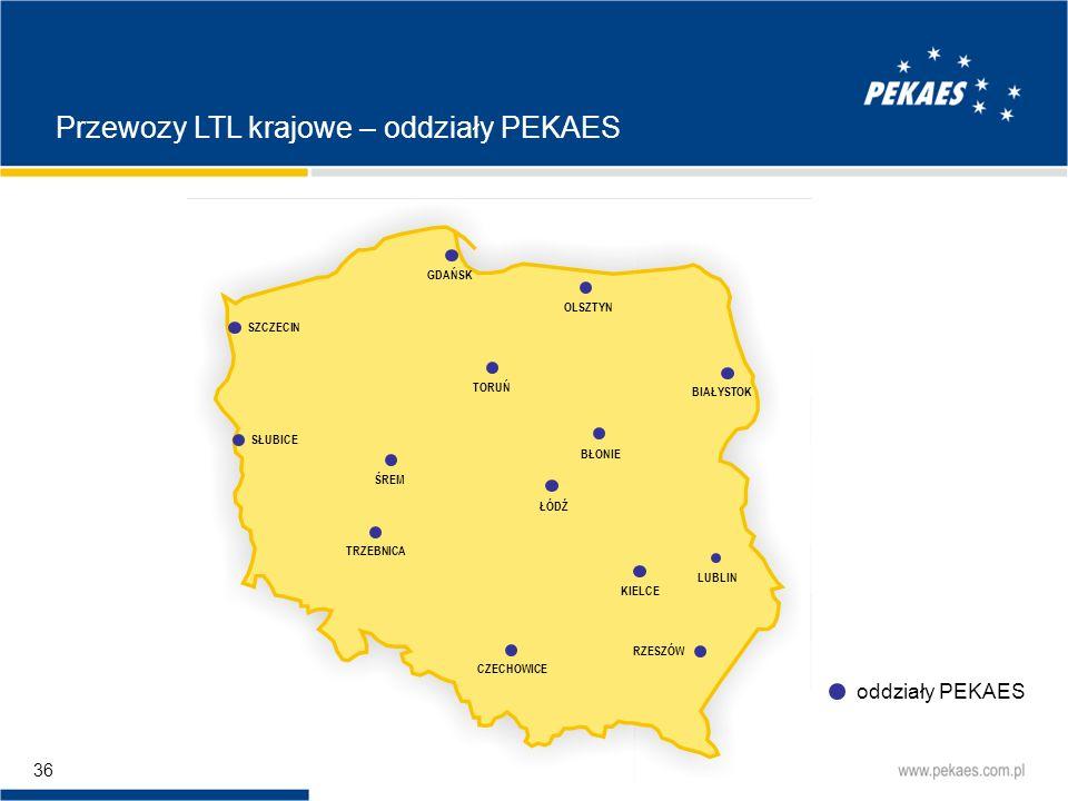 Przewozy LTL krajowe – oddziały PEKAES