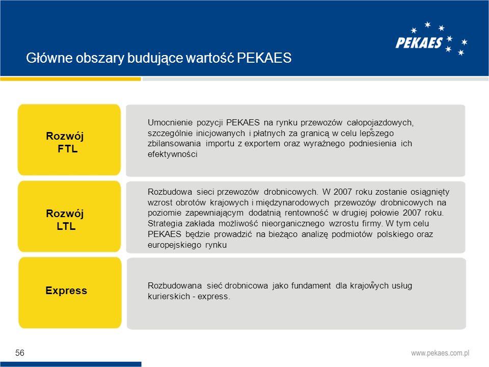 Główne obszary budujące wartość PEKAES