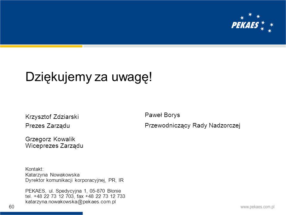 Dziękujemy za uwagę! Krzysztof Zdziarski Prezes Zarządu
