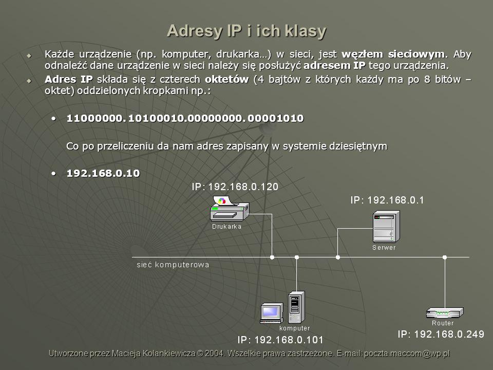 Adresy IP i ich klasy