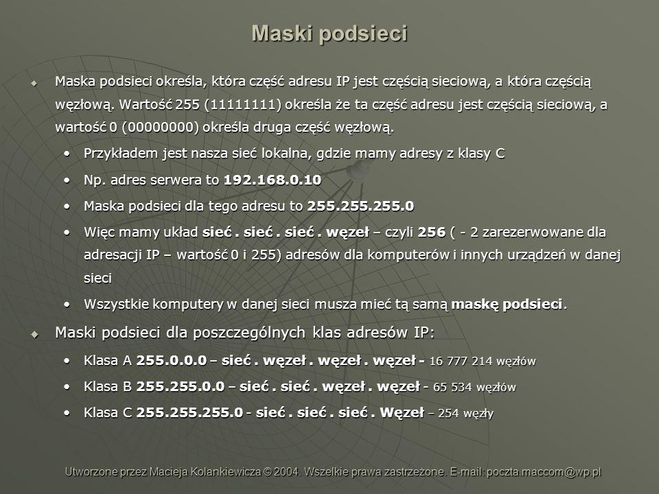Maski podsieci Maski podsieci dla poszczególnych klas adresów IP: