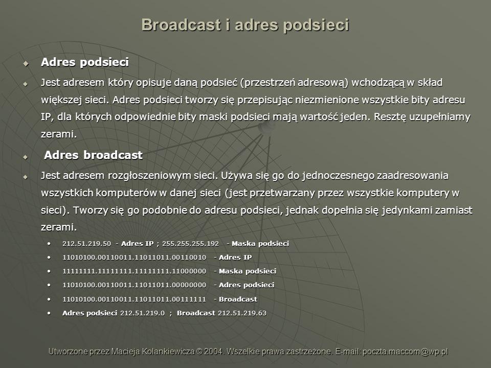 Broadcast i adres podsieci