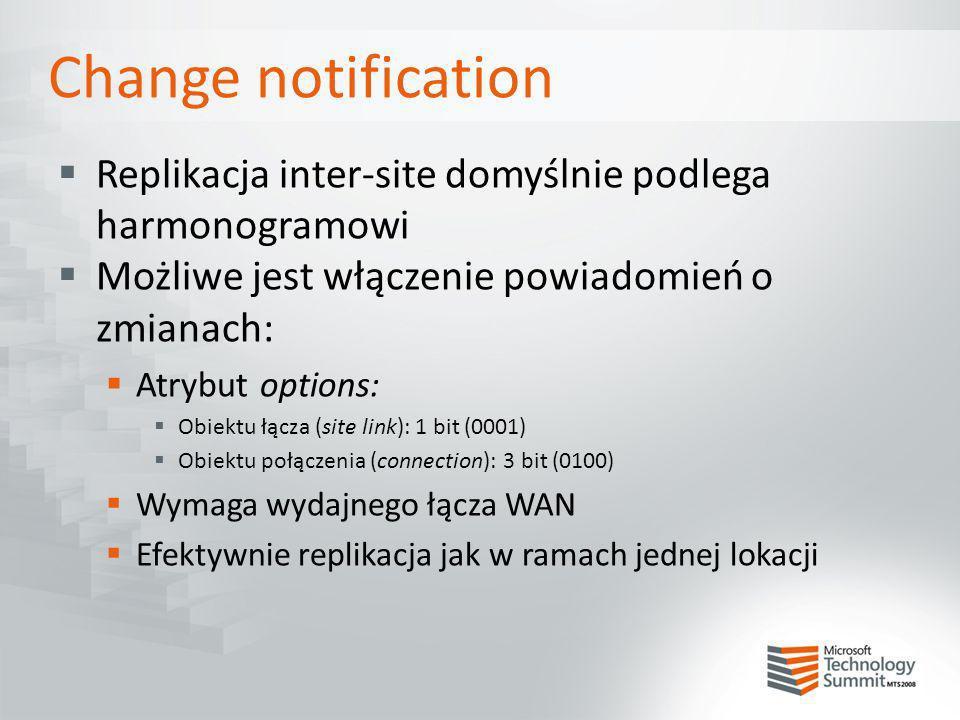 Change notification Replikacja inter-site domyślnie podlega harmonogramowi. Możliwe jest włączenie powiadomień o zmianach: