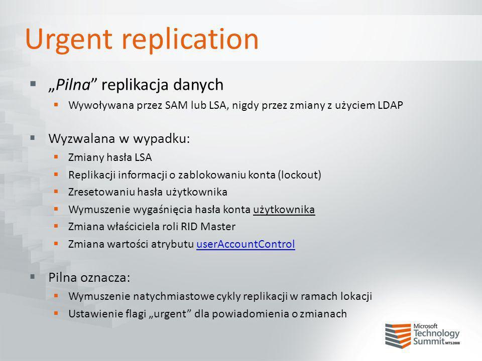 """Urgent replication """"Pilna replikacja danych Wyzwalana w wypadku:"""