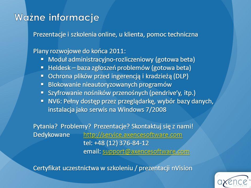 Ważne informacje Prezentacje i szkolenia online, u klienta, pomoc techniczna. Plany rozwojowe do końca 2011: