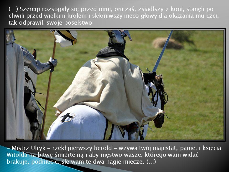 (…) Szeregi rozstąpiły się przed nimi, oni zaś, zsiadłszy z koni, stanęli po chwili przed wielkim królem i skłoniwszy nieco głowy dla okazania mu czci, tak odprawili swoje poselstwo: