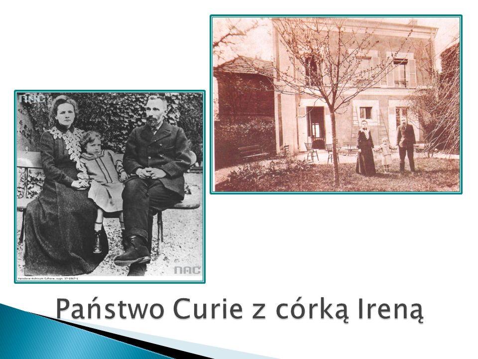Państwo Curie z córką Ireną