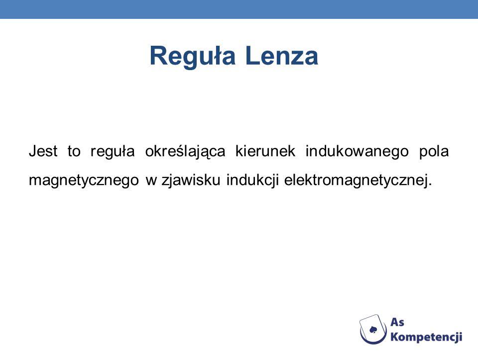 Reguła Lenza Jest to reguła określająca kierunek indukowanego pola magnetycznego w zjawisku indukcji elektromagnetycznej.