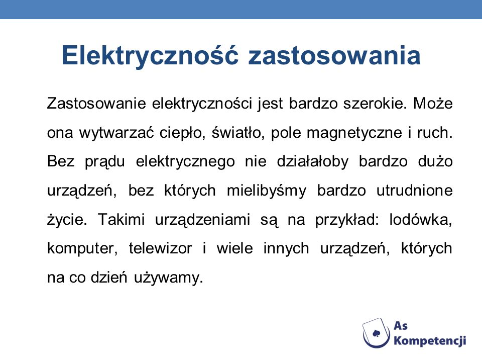 Elektryczność zastosowania