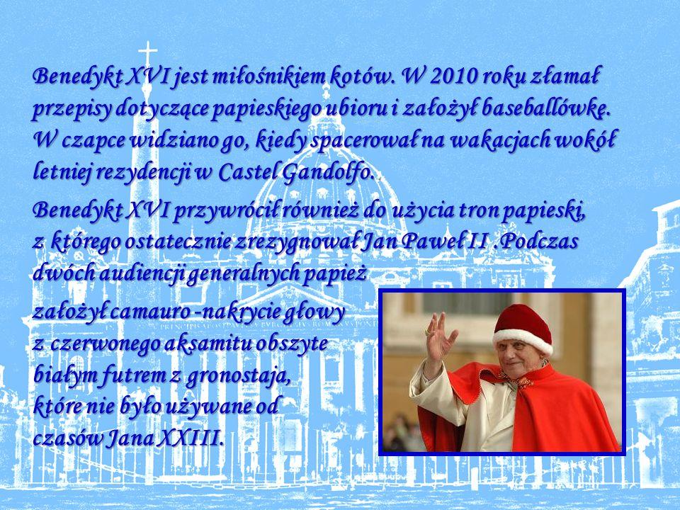 Benedykt XVI jest miłośnikiem kotów
