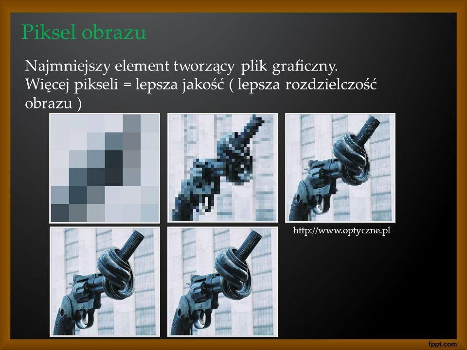 Piksel obrazu Najmniejszy element tworzący plik graficzny.