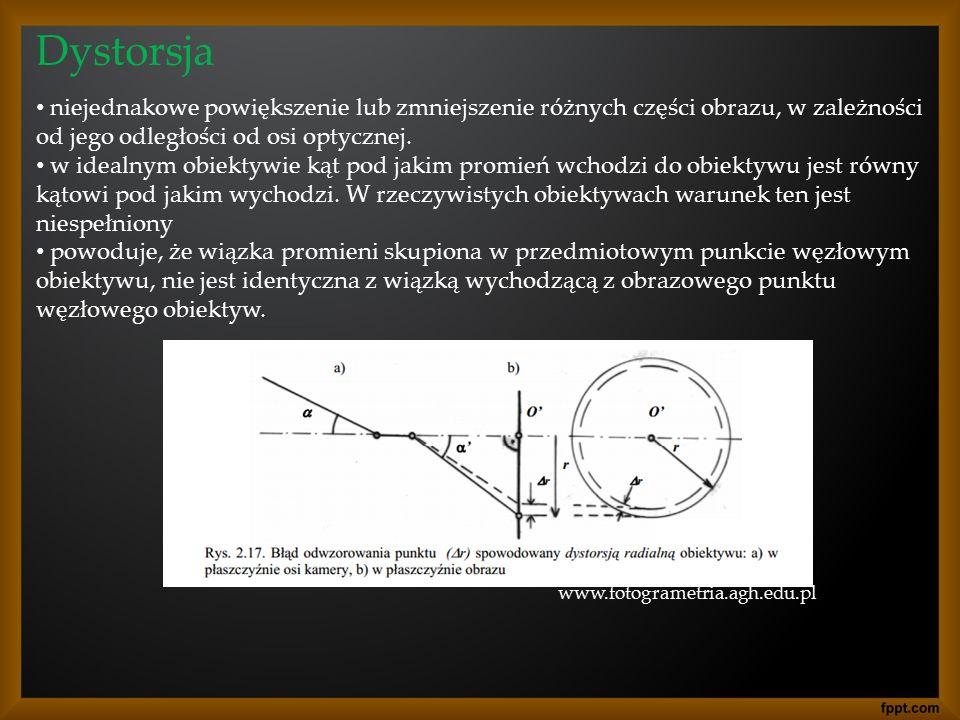 Dystorsja niejednakowe powiększenie lub zmniejszenie różnych części obrazu, w zależności od jego odległości od osi optycznej.