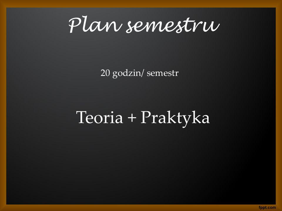 Plan semestru 20 godzin/ semestr Teoria + Praktyka