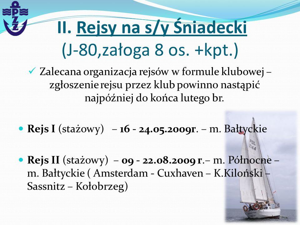 II. Rejsy na s/y Śniadecki (J-80,załoga 8 os. +kpt.)