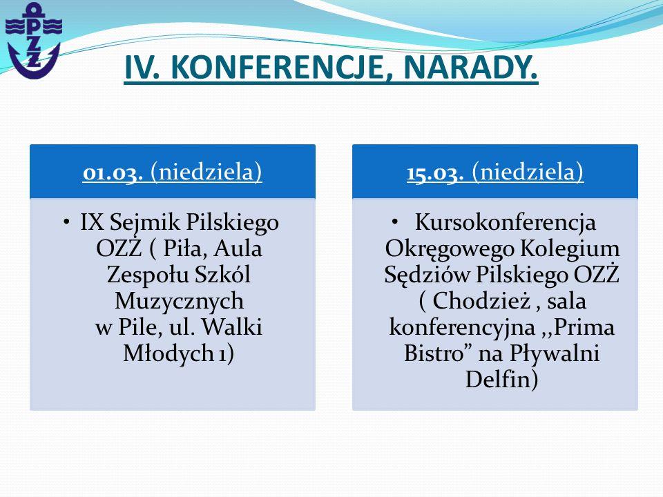 IV. KONFERENCJE, NARADY. 01.03. (niedziela)