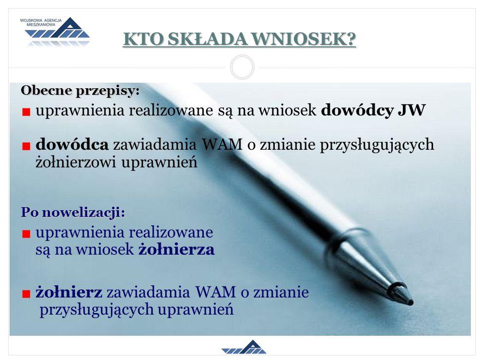 KTO SKŁADA WNIOSEK uprawnienia realizowane są na wniosek dowódcy JW