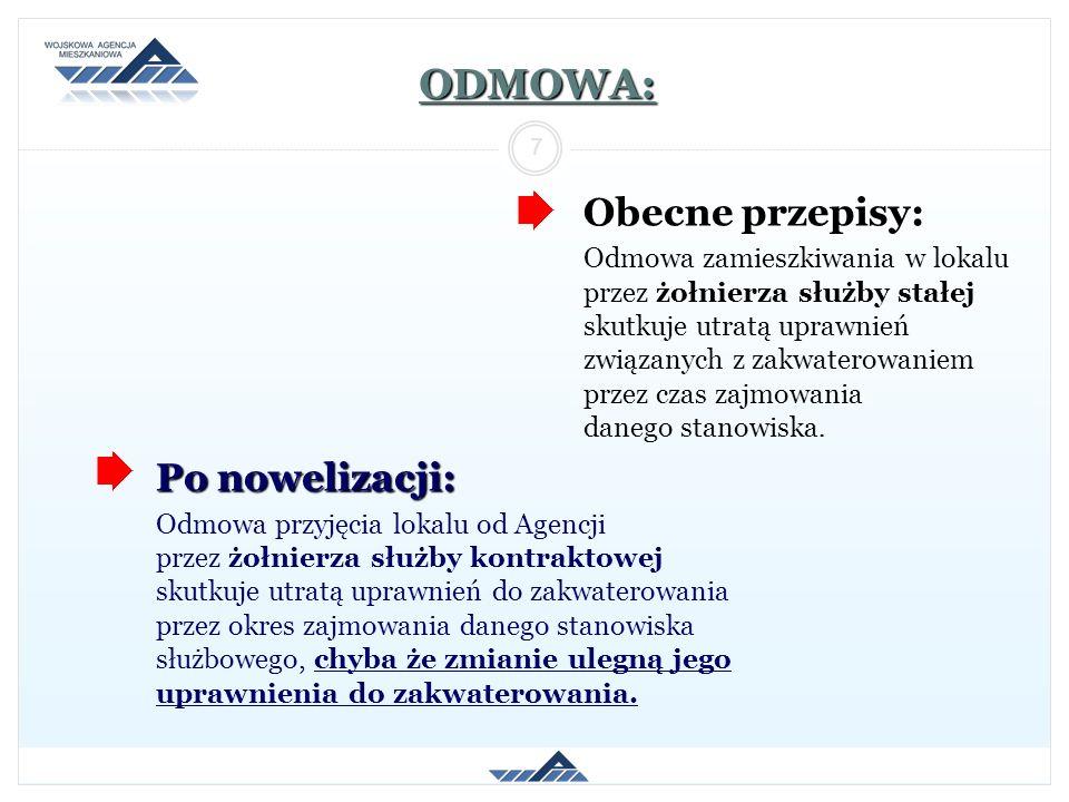 ODMOWA: Obecne przepisy: