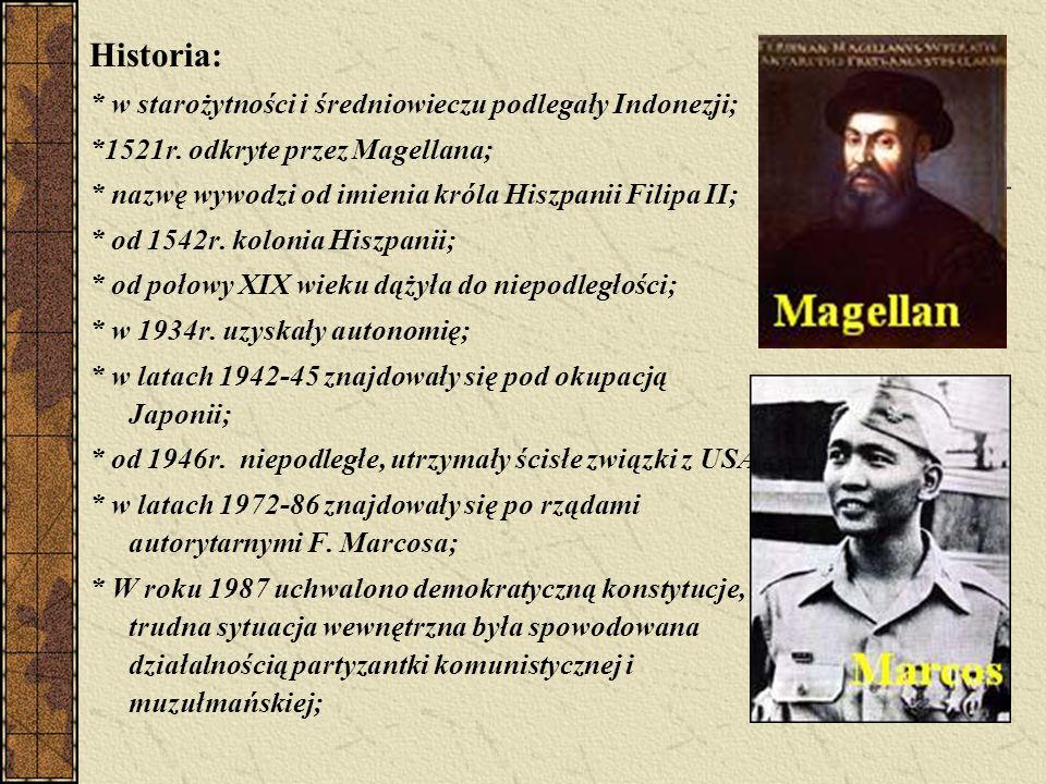 Historia: * w starożytności i średniowieczu podlegały Indonezji;